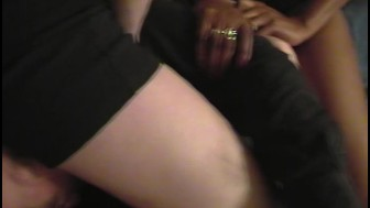 Strong black woman wrestles with a guy