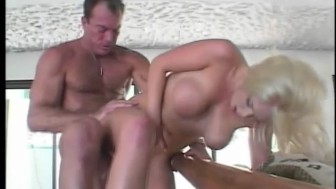 Blonde babe gets cum on her chin - Camel Toe