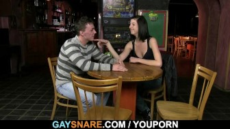 Gay waiter bangs his poor ass