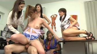 A video showing how an anatomy lesson with five 18yo teens turns into wild CFNM orgy