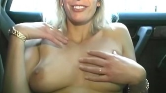 Backseat Blonde Pussy Play - Sascha Production