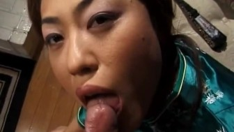 Mature honey Aya Kurosaki in a kimono paints her toe nails before sucking a cock