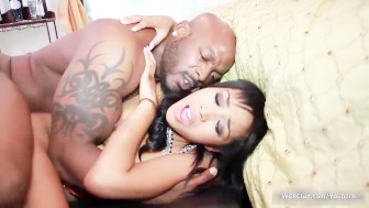 Cute ebony babe goes crazy getting her pussy pounded by an huge black cock