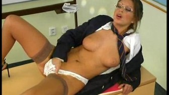 Sexy teacher rubs her pussy in classroom