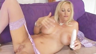 Lingerie Blonde Teases Pussy Juices