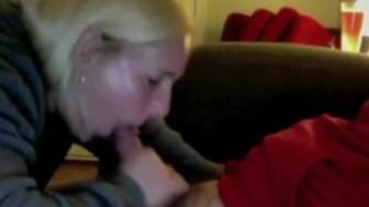 Blonde amateur girlfriend sucks big cock until her boyfriend cums on her mouth