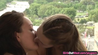 Adorable Aussie girl licked by her girlfriend