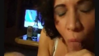 Pretty mexican brunette milf wife make a hell of a blowjob when parents are out