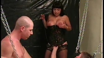 Busty Asian takes two cocks and they take each other - Legend
