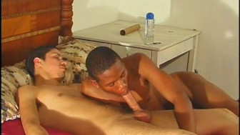 Young black guy works on a big white dick - Inferno