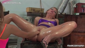 Rough pussy fisting and pissing