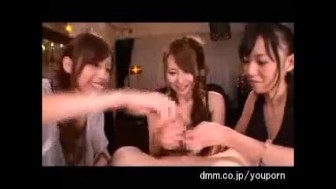 3 Sexy Japanese Girls Suck One Lucky Guy's Cock