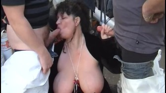 Large breasted mature taken by two guys