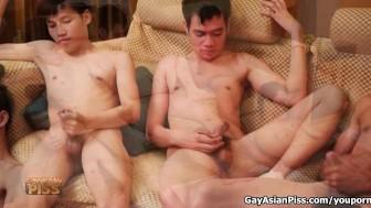 Five Thai Boys Jerking Together