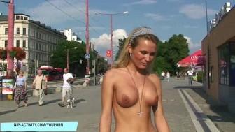 Crazy Laura Crystal has fun on public streets