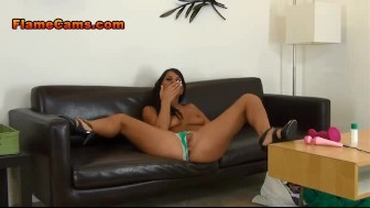 Topless Tan Babe In Panties Fingering Pussy