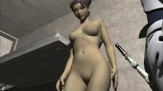 Robots fucks hard brunette babe