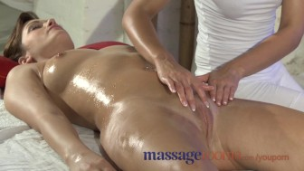 Massage Rooms Natural big tits are oiled and massaged as foreplay to a fuck