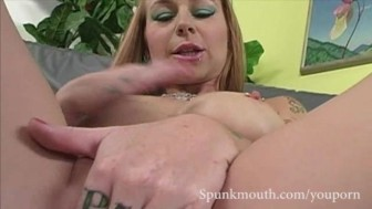 Big Tit tattoed chick Scarlet Pain tittyfucked and CUM blasted.