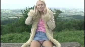 Outdoor blonde flashes tits and panties
