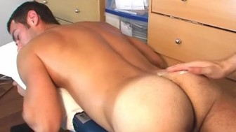 Nicolas, a real cute hansome french guy get wanked his huge cock in spite of him !