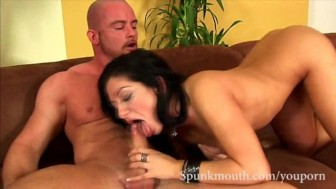 Exotic Babe Lea Lexus works her pink pussy before getting cockrocked for a hot jizz all over her pretty face