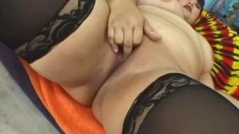 Asian fatty in stockings fucked