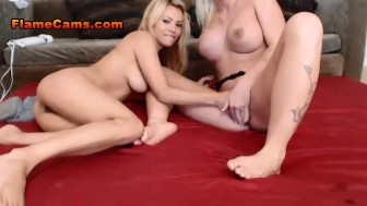 Two Blonde Lesbian Babes Foot Fuck