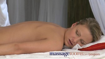 Massage Rooms Tight blonde has soppy wet pussy opened up by a big hard cock