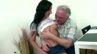 Naughty czech girl fucks with old man as soon as boyfriend leaves