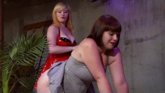 Latex FemDom Spanks, Whips and Brings Her Pretty femsub to Orgasms