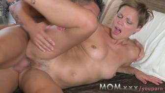 mom mature brunette rides his penis
