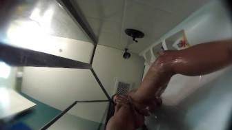 Kirsten Price showers with an underwater camera
