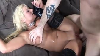 Busty blonde fucked in black b