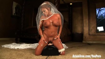 Aziani Iron mature female bodybuilder rides sybian in wedding dress