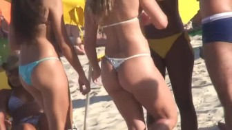 Hot Bikini Topless Teens on the Beach