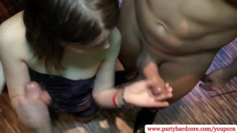 Party girls giving free handjobs