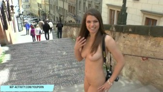 Hot babe Mona Lee shows her perfect tits in public