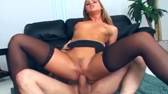 Fucking in sheer black stockings and high heels