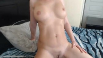 Hot Busty Babe Fingers her Tight Pink Pussy