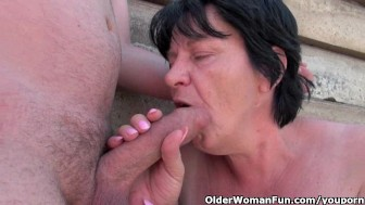 Ugly grandma with 1 inch nipples gets fucked outdoors