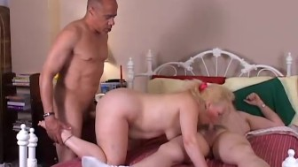 Sexy old spunker Sunshine gets spit roasted