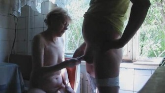 Mature Wife Jerks Off Husbands Dick Until He Cums