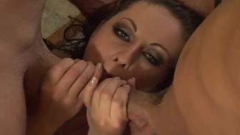 crazy amateur brunette can't get enough cock in this gangbang