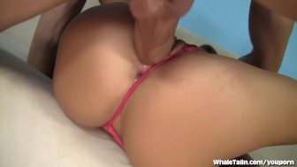 Blonde Babe Fucked With Her Thong On