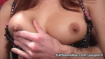 Horny Ass Eater Sativa Rose licks asshole for cum in mouth.