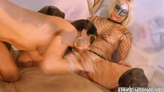 Rebecca More fucks with strapon as lesbian eats pussy in threesome