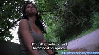 PublicAgent Dark haired rollerblading girl strips in public place