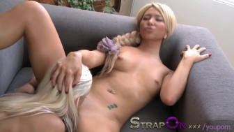 StrapOn Lola Myluv has her pussy licked then penetrated by strapon dildo