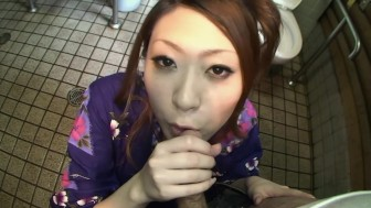 Japanese brunette sucking cock in the bathroom - Dreamroom Productions